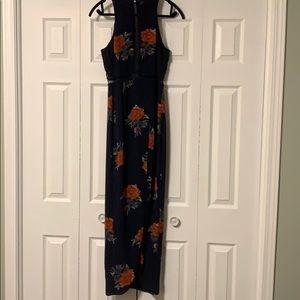 Navy floral high neck dress.
